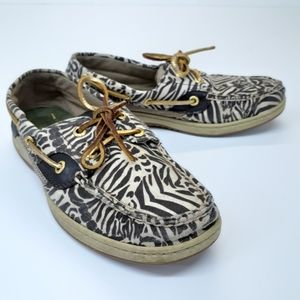 Sperry zebra print boat shoes womens size 7